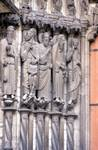 Chartres Cathedral; Melchizedek, Abraham, Isaac, Moses, Samuel (Aaron), David; left embrasure jamb figures of the central portal, north transept.