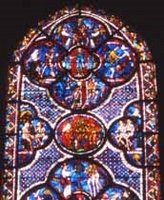 Chartres Cathedral; Garden of Eden, Temptation, Fall; 'Good Samaritan' window, interior stained glass window.