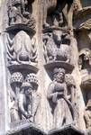 Chartres Cathedral; zodiac signs and labors of the months; archivolts left portal, west facade.