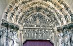 Laon; Last Judgment, Jesus Christ, Virgin Mary, St. Michael, Abraham; archivolts, lintel, tympanum and jamb figures of the south portal, west facade (Last Judgment Portal).