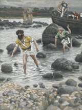 Calling of Saint James and Saint John.  Tissot, James, 1836-1902  Click to enter image viewer  Use the Save buttons below to save any of the available image sizes to your computer.
