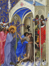 Jesus Casts Out the Unclean Spirit.  Limbourg Brothers  Click to enter image viewer  Use the Save buttons below to save any of the available image sizes to your computer.
