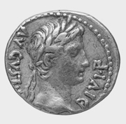 Roman Coin of Caesar Augustus.   Click to enter image viewer  Use the Save buttons below to save any of the available image sizes to your computer.
