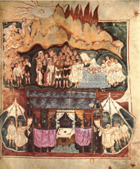 Ashburnham Pentateuch - Moses receiving the law.