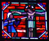 Crucifixion, the spear or lance piercing Jesus' side.