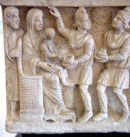 Adoration of the Child; Arrival of the Magi.