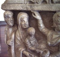 Adoration of the Child; Arrival of the Magi, detail.