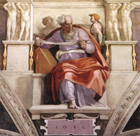 The Prophet Joel.  Michelangelo Buonarroti, 1475-1564  Click to enter image viewer  Use the Save buttons below to save any of the available image sizes to your computer.