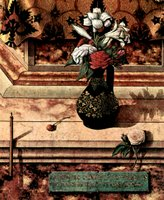 Lilies, a rose, and a cherry, detail.