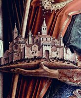 Model of a city, detail from church altarpiece.