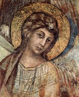 Angel, detail from Enthroned Madonna.