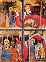 Annunciation, Birth, Adoration and Presentation.