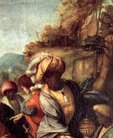 Adoration of the Christ Child by the Three Wise Men, detail.