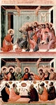 Christ Washes the Apostles' Feet (top); Last Supper (bottom).
