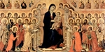 Madonna with angels, saints and apostles.