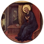 The young Mary in prayer.