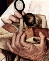 Madonna with St Dominic, St. George, and the church founder - detail of Bible and eyeglasses.