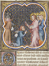 Christ and the Ten Lepers.  Master of the Bible of Jean de Sy, active 1355-1380  Click to enter image viewer  Use the Save buttons below to save any of the available image sizes to your computer.