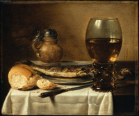 Still Life with Stoneware Jug, Wine Glass, Herring, and Bread.