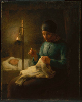 Women Sewing beside her Sleeping Child.