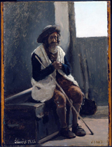 Old Man Seated on a Trunk.