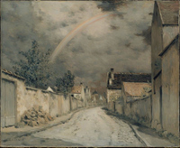 Village Street with a Rainbow.
