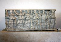 Pagan sarcophagus-figures of Muses.
