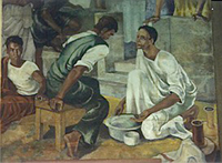 Detail from the mural of Jesus washing the disciples' feet.  Paynter, David, 1900-1975  Click to enter image viewer  Use the Save buttons below to save any of the available image sizes to your computer.