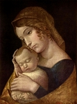 Mary with the infant Jesus.