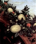 Fruits and vines, detail.