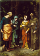 Four Saints -  Peter, Martha, Mary Magdalen and Leonard.  Correggio, 1489?-1534  Click to enter image viewer  Use the Save buttons below to save any of the available image sizes to your computer.