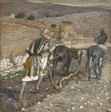 Looking Back - the man at the plow.  Tissot, James, 1836-1902  Click to enter image viewer  Use the Save buttons below to save any of the available image sizes to your computer.