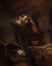 Apostle Paul.  Rembrandt Harmenszoon van Rijn, 1606-1669  Click to enter image viewer  Use the Save buttons below to save any of the available image sizes to your computer.
