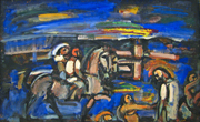 Horseriding at Sunset, Biblical landscape.
