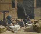 Two Woman at the Mill.  Tissot, James, 1836-1902  Click to enter image viewer  Use the Save buttons below to save any of the available image sizes to your computer.
