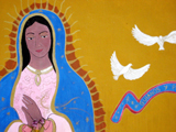 Virgin of Guadalupe.  Unidentified mural artist  Click to enter image viewer  Use the Save buttons below to save any of the available image sizes to your computer.