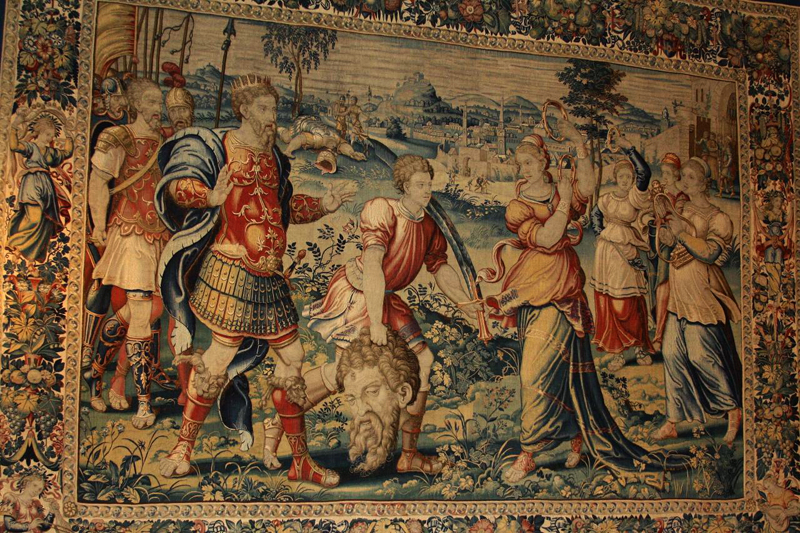 Title: Tapestry of David slaying Goliath [Click for larger image view]
