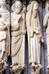 Chartres Cathedral; Moses, Samuel, Aaron; left embrasure jamb figures, central portal, north transept.   Click to enter image viewer  Use the Save buttons below to save any of the available image sizes to your computer.