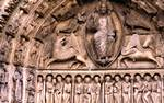 Chartres Cathedral; Christ, four Evangelists; tympanum and lintel, central portal, west facade.   Click to enter image viewer  Use the Save buttons below to save any of the available image sizes to your computer.