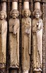 Chartres Cathedral; Samuel, David, Queen of Sheba, Solomon; right embrasure jamb figures, central portal, west facade.   Click to enter image viewer  Use the Save buttons below to save any of the available image sizes to your computer.