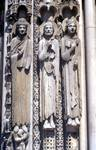 Chartres Cathedral; king, Roland, Louis VII; left embrasure jamb figures, right portal, west facade.   Click to enter image viewer  Use the Save buttons below to save any of the available image sizes to your computer.
