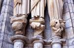 Chartres Cathedral; Mary, Elizabeth, Daniel (Zechariah); right embrasure, left portal, north transept.   Click to enter image viewer  Use the Save buttons below to save any of the available image sizes to your computer.