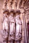Laon; left jamb figures of the south portal, west facade (Last Judgment Portal).   Click to enter image viewer  Use the Save buttons below to save any of the available image sizes to your computer.