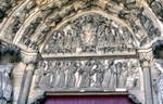 Laon; Last Judgment, Jesus Christ, Virgin Mary, apostles, St. Michael, the elect, the dead, the wise and foolish virgins, Abraham, angels, Devil; the archivolts, lintel and tympanum of the south portal, west facade (Last Judgment Portal).   Click to enter image viewer  Use the Save buttons below to save any of the available image sizes to your computer.