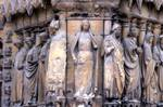 Reims; Florent, Eutropia, John, Rigobert, Queen of Sheba, Isaiah, Joseph the father of Jesus, Virgin Mary, Jesus Christ, Simeon; jamb figures flanking the buttress between the north and the central portals, west facade.   Click to enter image viewer  Use the Save buttons below to save any of the available image sizes to your computer.