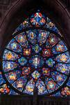 Reims; Litanies of Mary; small rose-window of the central portal, west facade.   Click to enter image viewer  Use the Save buttons below to save any of the available image sizes to your computer.