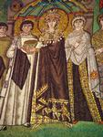 St. Vitale - Empress Theodora Offering the Cup of the Eucharist (Detail).   Click to enter image viewer  Use the Save buttons below to save any of the available image sizes to your computer.