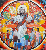 Jesus Mural of Faith, Hope, Love, and Peace.   Click to enter image viewer  Use the Save buttons below to save any of the available image sizes to your computer.