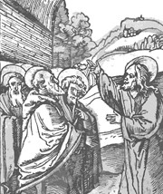 Christ Teaching the Disciples.  Schäufelein, Hans, approximately 1480-approximately 1539  Click to enter image viewer  Use the Save buttons below to save any of the available image sizes to your computer.