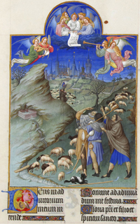 The Annunciation to the Shepherds, Les Tres Riches Heures du duc de Berry, Folio 48r.